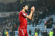 George Friend (3) of Middlesbrough applauds the travelling fans at full time during the EFL Sky Bet Championship match between Queens Park Rangers and Middlesbrough at the Kiyan Prince Foundation Stadium, London, England on 9 November 2019.