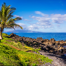 Maui Hawaii at Wailea Makena with a palm tree along Wailea Beach Path. In the background is an outrigger canoe and <br /> Kaho'olawe Island along the Pacific Ocean. Copyright ⓒ 2019 Paul Velgos with All Rights Reserved.