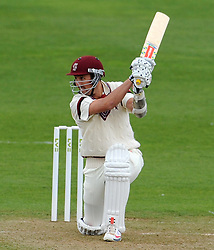 Somerset's Tom Cooper drives the ball off the bowling of Durham's Paul Collingwood- Photo mandatory by-line: Harry Trump/JMP - Mobile: 07966 386802 - 12/04/15 - SPORT - CRICKET - LVCC County Championship - Day 1 - Somerset v Durham - The County Ground, Taunton, England.