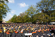 "Graduates listen to Chris Matthews, host of ""Hardball"" on MSNBC, at the University of Rochester's Commencement Ceremony on Sunday, May 18, 2014."
