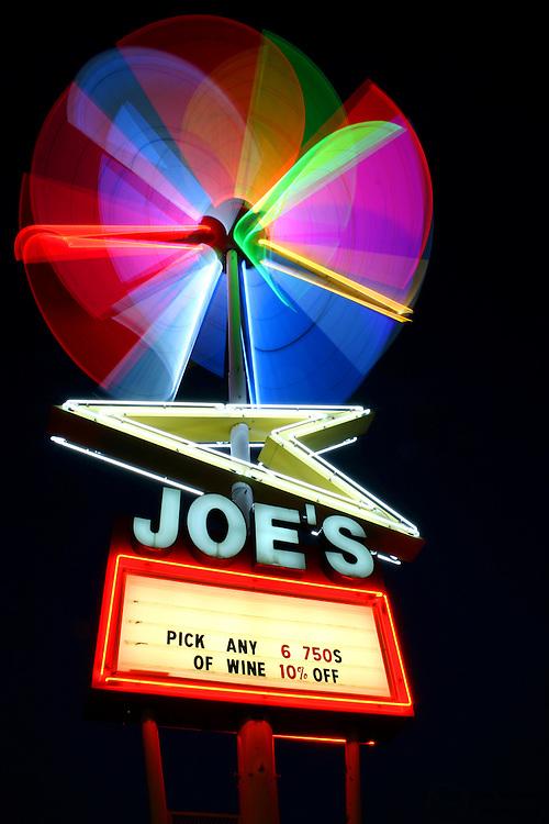 Joe's Sputnik neon sign in midtown Memphis, Tennessee.