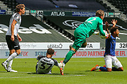 Ben Hamer of Derby County  collects the ball during the EFL Sky Bet Championship match between Derby County and Brentford at the Pride Park, Derby, England on 11 July 2020.
