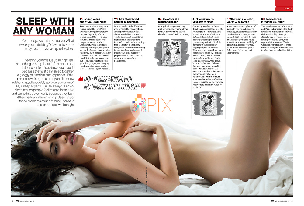 Get some great ideas for how to sleep with any woman..  Sounds like a bold claim, but it's not quite what you think.  Check it out in the November issue of Men's Health magazine, Australia.<br />
