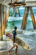 Venice Beach; CA, Santa Monica Bay; Pier, Concrete, Washington Street, Pacific Ocean,