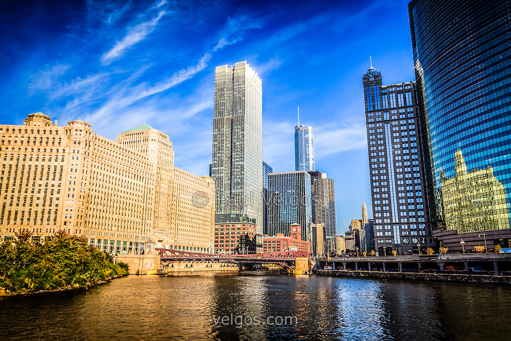 Photo of downtown Chicago buildings along the Chicago River at Wolf Point and Franklin Street Bridge where the South Branch, North Branch and Main Stem meet. Picture was taken in late 2011 and is high resolution.