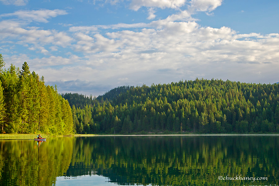 Kayaking on Beaver Lake in the Stillwater State Forest, Montana, USA