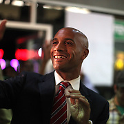 Washington, Sept. 15, 2010 - With most of the poll results in, and with Vincent Gray holding a commanding lead, Mayor Adrian Fenty arrives at his campaign headquarters refusing to concede.