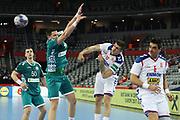 Artsem Karalek, Artur Karvatski (Belarus) and Petar Dordic (Serbia) during the EHF 2018 Men's European Championship, 2nd Round, Handball match between Serbia and Belarus on January 24, 2018 at the Arena in Zagreb, Croatia - Photo Laurent Lairys / ProSportsImages / DPPI
