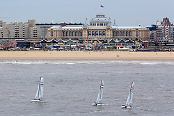 Nacra 17-team's of the Dutch National team on their way from Scheveningen to Paal 17, Texel where they will compete in this years Round Texel Race.  (10 June 2013) Scheveningen, The Hague, The Netherlands