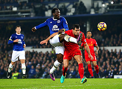 Romelu Lukaku of Everton fires a shot at goal  under pressure from Dejan Lovren of Liverpool - Mandatory by-line: Matt McNulty/JMP - 19/12/2016 - FOOTBALL - Goodison Park - Liverpool, England - Everton v Liverpool - Premier League