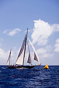 Kate sailing in the Old Road Race at the 2011 Antigua Classic Yacht Regatta.
