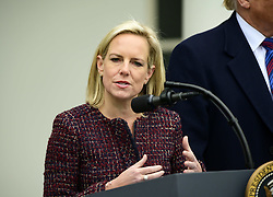 January 4, 2019 - Washington, District of Columbia, U.S. - United States Secretary of Homeland Security (DHS) Kirstjen Nielsen explains some of the statistics compiled by her department after US President Donald J. Trump made a statement following his meeting with Democratic leaders in the Situation Room of the White House in Washington, DC in an effort to break the political impasse on border security and reopen the federal government on Friday, January 4, 2018.  The President also took questions from reporters  (Credit Image: © Ron Sachs/CNP via ZUMA Wire)