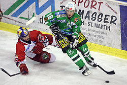Martin Ulrich of Salzburg and Ales Music of Olimpija at sixth game of the Final of EBEL league (Erste Bank Eishockey Liga) between ZM Olimpija vs EC Red Bull Salzburg,  on March 25, 2008 in Arena Tivoli, Ljubljana, Slovenia. Red Bull Salzburg won the game 3:2 and series 4:2 and became the Champions of EBEL league 2007/2008.  (Photo by Vid Ponikvar / Sportal Images)..