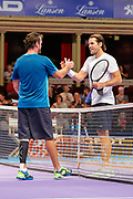 Xavier Malisse and Tommy Haas shake hands after the Champions Tennis match at the Royal Albert Hall, London, United Kingdom on 6 December 2018. Picture by Ian Stephen.