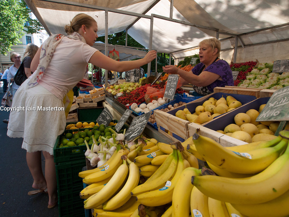 Fruit stall at weekend market at Kollwitzplatz in Prenzlauer Berg in Berlin Germany