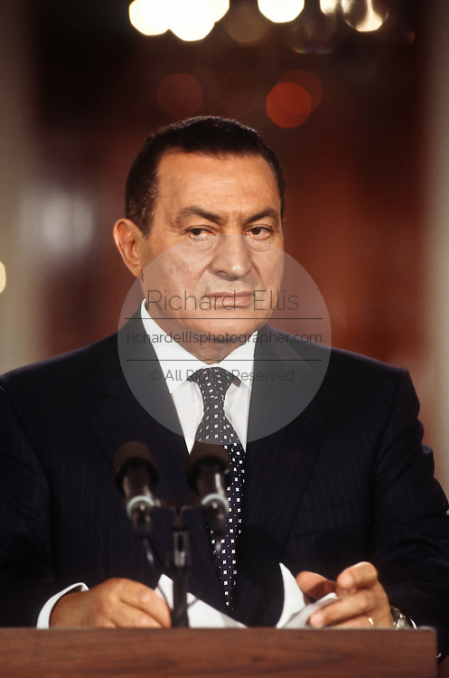 Egyptian President Hosni Mubarak during a joint news conference July 31, 1996 in the White House East Room.
