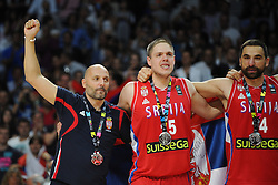 Coach Sasha Djordjevic, Vladimir Stimac, Rasko Katic of Second placed National team of Serbia celebrate at medal ceremony after the 2014 FIBA World Basketball Championship Final match between USA and Serbia at the Palacio de los Deportes, on September 14, 2014 in Madrid, Spain. Photo by Tom Luksys  / Sportida.com <br /> ONLY FOR Slovenia, France