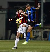 """Kaka Kaladze (Milan), Adriano (Inter).Milano 15/2/2009 Stadio """"Giuseppe Meazza"""".Campionato Italiano Serie A.Inter Milan."""