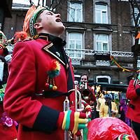 Nederland, Maastricht, 9 februari 2016. Zaate Hermeniekes Konkoer op en rond het Vrijthof.<br />Op de foto: Zaate hermenieke in extase op het Amosplein.<br /><br /><br /><br />Foto: Jean-Pierre Jans