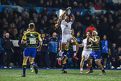 Gael Fickou of Toulouse claims the high ball - Mandatory by-line: Craig Thomas/JMP - 14/01/2018 - RUGBY - BT Sport Cardiff Arms Park - Cardiff, Wales - Cardiff Blues v Toulouse - European Rugby Challenge Cup