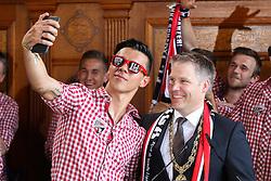 25.05.2015, Rathaus Platz, Ingolstadt, GER, 2. FBL, FC Ingolstadt 04, Aufstiegsfeier, im Bild Selfie: Alfredo Morales (Nr.6, FC Ingolstadt 04) mit dem Oberbuergermeister der Stadt Ingolstadt Dr. Christian Loesel // during the 2nd German Bundesliga championship party of FC Ingolstadt 04 at the Rathaus Platz in Ingolstadt, Germany on 2015/05/25. EXPA Pictures © 2015, PhotoCredit: EXPA/ Eibner-Pressefoto/ Strisch<br /> <br /> *****ATTENTION - OUT of GER*****
