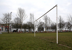 Goalposts stand in a local park next to Deepdale, home to Preston North End - Mandatory by-line: Robbie Stephenson/JMP - 06/03/2018 - FOOTBALL - Deepdale - Preston, England - Preston North End v Bristol City - Sky Bet Championship