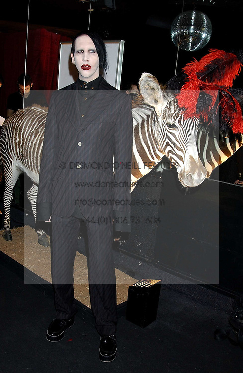 MARILYN MANSON at a party to celebrate the first issue of British Harper's Bazaar held at Cirque, 10-14 Cranbourne Street, London WC2 on 16th February 2006.<br />