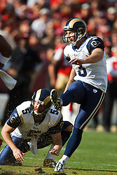 November 14, 2010; San Francisco, CA, USA;  St. Louis Rams place kicker Josh Brown (3) kicks a field goal against the San Francisco 49ers during the first quarter at Candlestick Park.