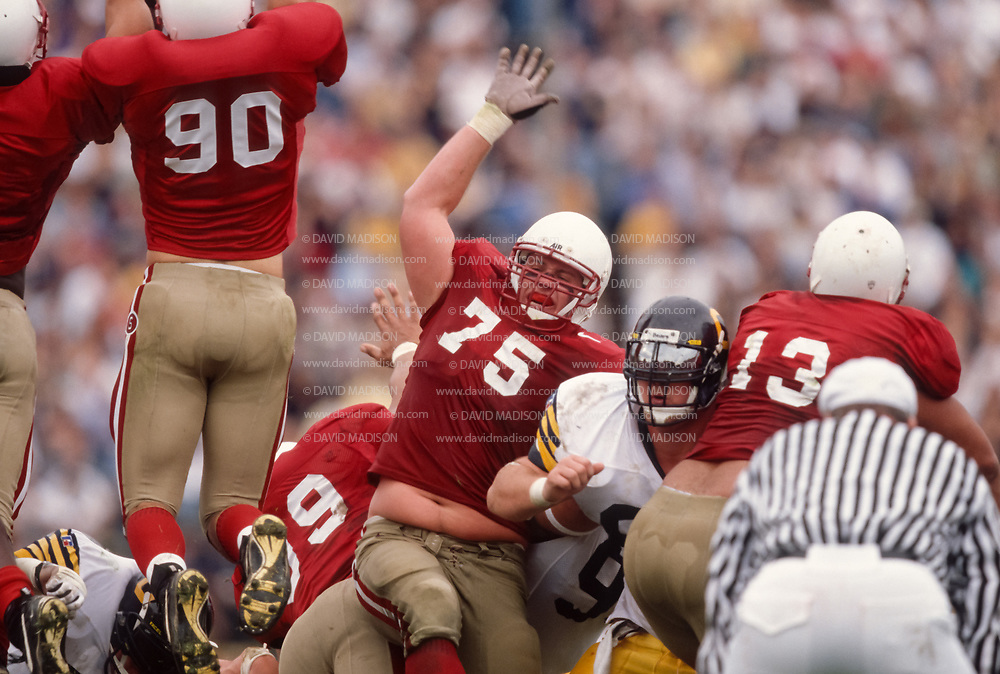 COLLEGE FOOTBALL:  Stanford vs Cal in the 100th annual Big Game on November 22, 1997 at Stanford Stadium in Palo Alto, California.  Carl Hansen #75.  Photograph by David Madison ( www.davidmadison.com ).