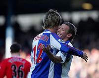 Photo: Andrew Unwin.<br />Blackburn Rovers v Middlesbrough. The Barclays Premiership. 18/03/2006.<br />Blackburn's Morten Gamst Pedersen celebrates his goal with Craig Bellamy (R).