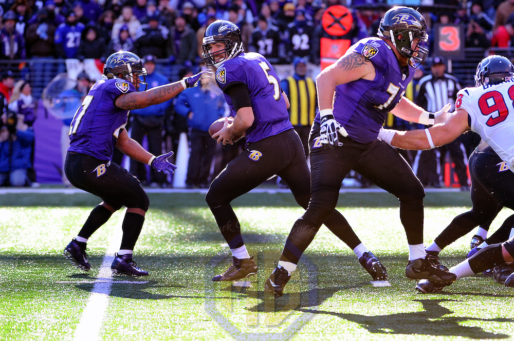 15 January 2012: Baltimore Ravens quarterback Joe Flacco (5), running back Ray Rice (27) and offensive guard Marshal Yanda (73) in action against the Houston Texans in the Divisional Playoff at M&T Bank Stadium in Baltimore, MD. The Ravens defeated the Texans 20-13 to advance to the AFC Championship game..
