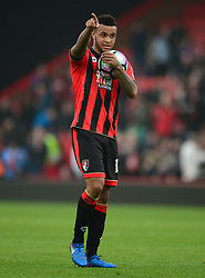 Joshua King of Bournemouth points towards the crowd at full time holding the match ball. - Mandatory by-line: Alex James/JMP - 11/03/2017 - FOOTBALL - Vitality Stadium - Bournemouth, England - Bournemouth v West Ham United - Premier League