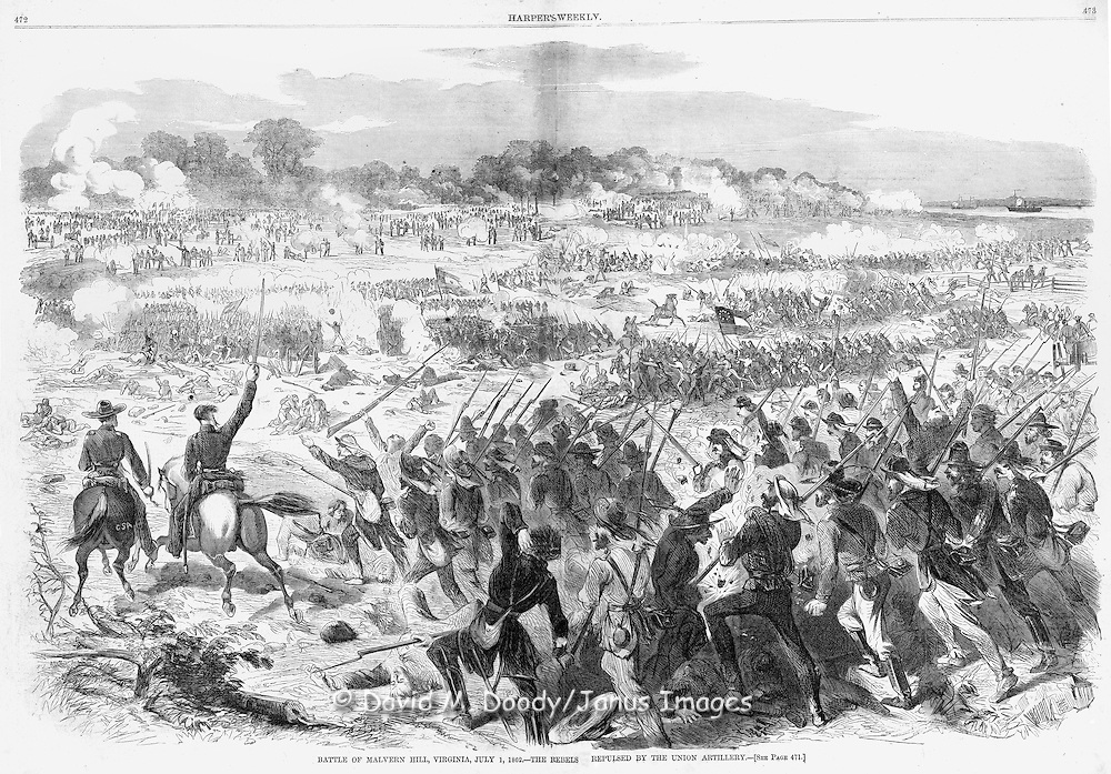 Harper's Weekly July 26, 1862: Civil War,  Battle of Malvern Hill, Virginia July 1, 1862..Battle just outside Richmond during the failed Peninsula campaign of 1862..