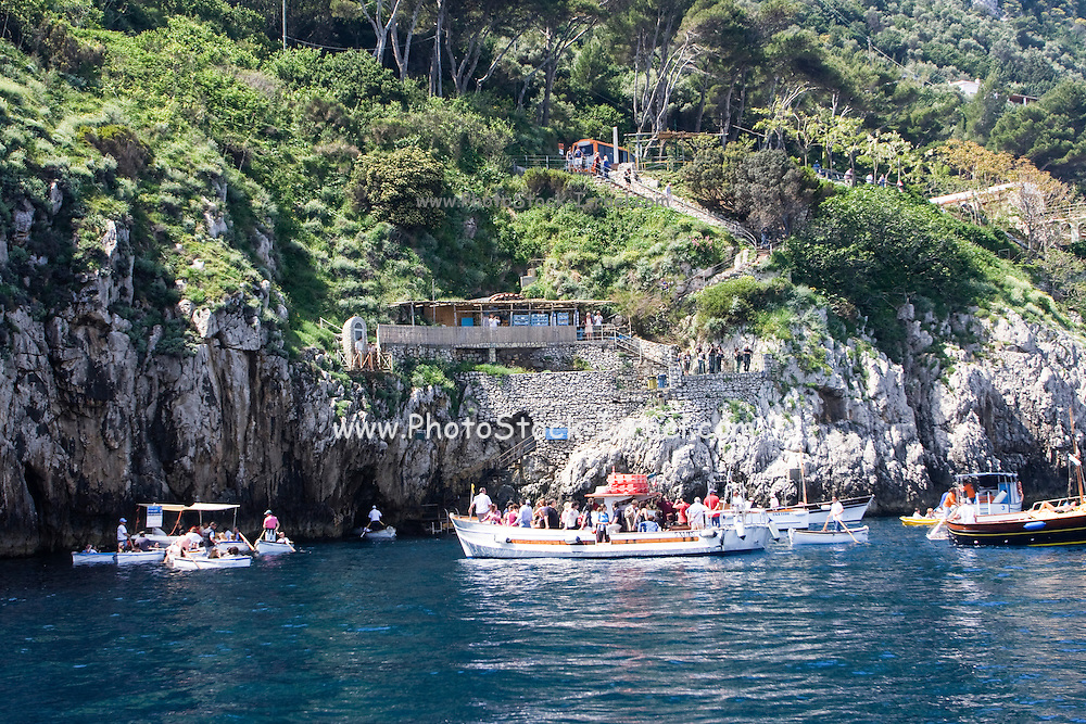 Capri, Italy, boats at the entrance to the blue cave
