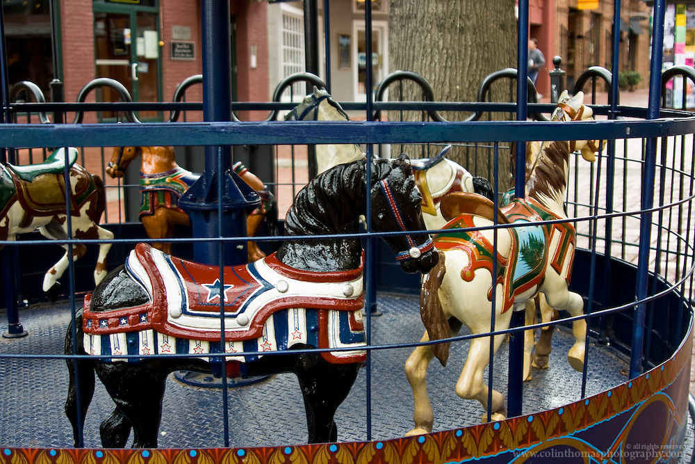 Old style carousel on the Downtown Mall in Charlottesville, Virginia.