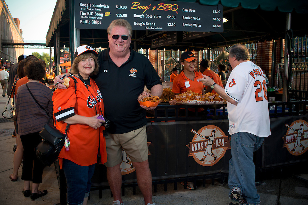 Baltimore legend Boog Powell at home in his bar-b-que stand in the Baltimore Oriole's home Camden Yards.