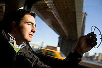 """31 October, 2008. New York, NY. Spanish matador David Fandila, 27, is here in the car that drives to the Manhattan Heliport at Pier 6, where he will go for an helicopter tour of Manhattan. David Fandila, better known in Spain and in the bullfighting world as """"El Fandi"""", came to New York for the premiere of  """"The Matador,"""" a documentary about him (released by City Lights). Him and his brother Juan Alvaro (his manager), 31, convinced by their friend Carlos Gil, will partecipate at the New York City Marathon on Sunday, November 2nd. El Fandi began as a matador in 2000 and is now one of the most skilled matadors in the world. <br /> <br /> ©2008 Gianni Cipriano for The New York Times<br /> cell. +1 646 465 2168 (USA)<br /> cell. +1 328 567 7923 (Italy)<br /> gianni@giannicipriano.com<br /> www.giannicipriano.com"""