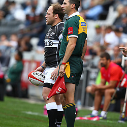 DURBAN, SOUTH AFRICA - SEPTEMBER 05:  Kyle Cooper of the Cell C Sharks with Craig Joubert (Assistant Referees) during the Absa Currie Cup match between Cell C Sharks and Steval Pumas at Growthpoint Kings Park on September 05, 2015 in Durban, South Africa. (Photo by Steve Haag/Gallo Images)