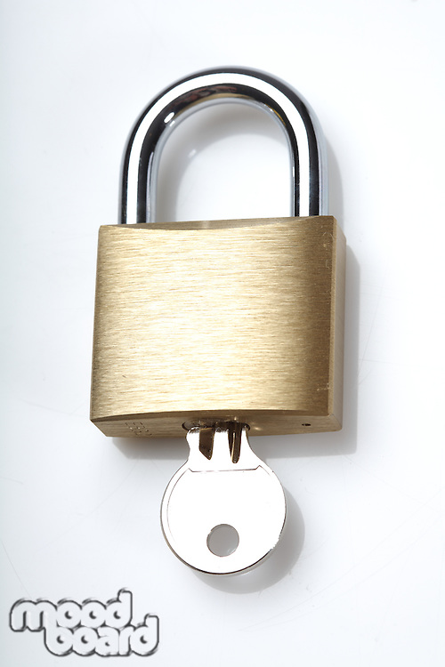 Padlock on white background - close-up