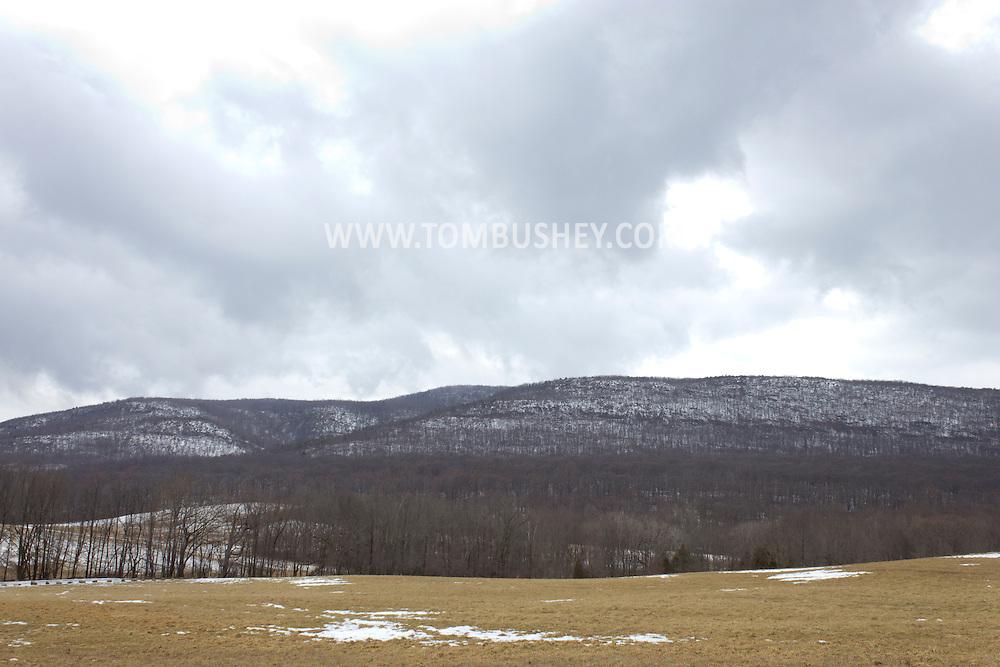 Salisbury Mills, New York - Dark Hollow Brook flows over rocks on the side of Schunnemunk Mountain on Feb. 24, 2013.