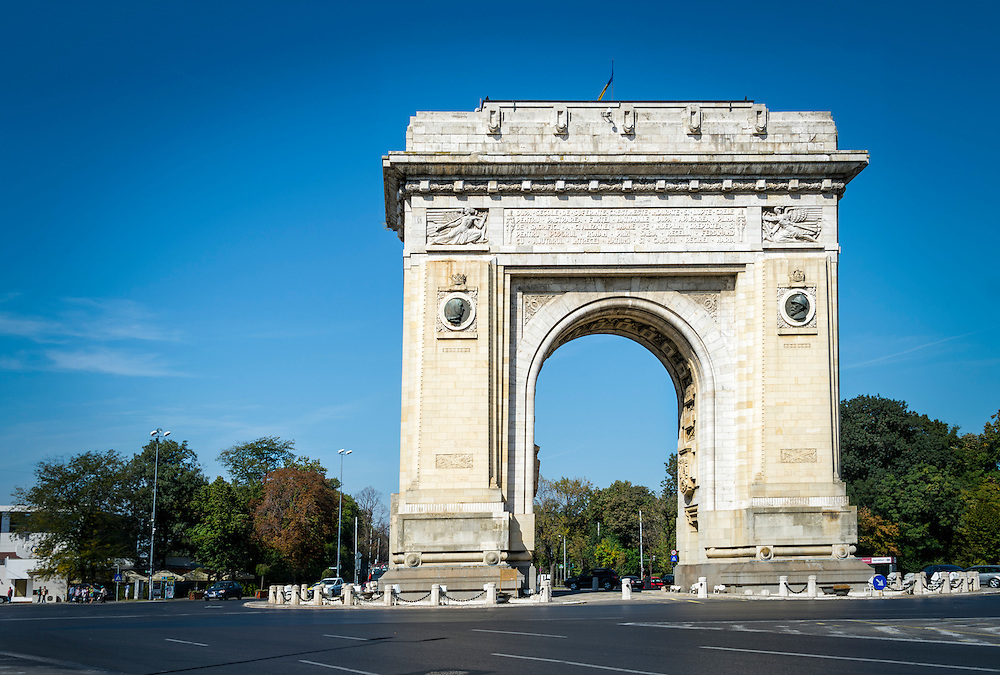 BUCHAREST, ROMANIA - October 1, 2012:  View of the Arch of Triumph (Arcul of Triumf) in Bucharest.