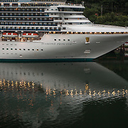 Diamond Princess cruise ship owned and operated by Princess Cruises docked at the port in Juneau, Alaska<br /> Photography by Jose More