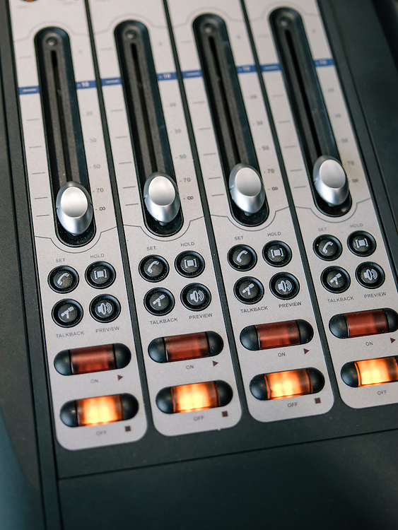 Call-in buttons in the studio of Diane Rehm.