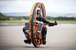 © Licensed to London News Pictures. 16/09/2017. York UK. Tom Anable races his 400cc Mono wheel along the runway at the Straighliners Top Speed weekend at Elvington airfield near York today. The eveny is similar to the famous Bonneville land speed events in the US only lower cost & more convenient for Europeans. Photo credit: Andrew McCaren/LNP
