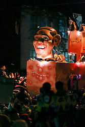 12 Feb 2015. New Orleans, Louisiana.<br /> Mardi Gras. Obama and Blemishes float makes its way along Magazine Street  with the The Krewe of Muses. <br /> Photo; Charlie Varley/varleypix.com