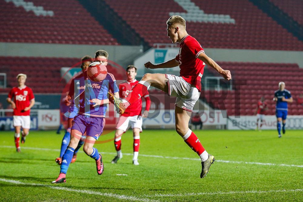 Jake Andrews of Bristol City crosses on the edge of the box - Mandatory byline: Rogan Thomson/JMP - 14/12/2015 - FOOTBALL - Ashton Gate Stadium - Bristol, England - Bristol City U18 v Cardiff City U18 - FA Youth Cup Third Round.