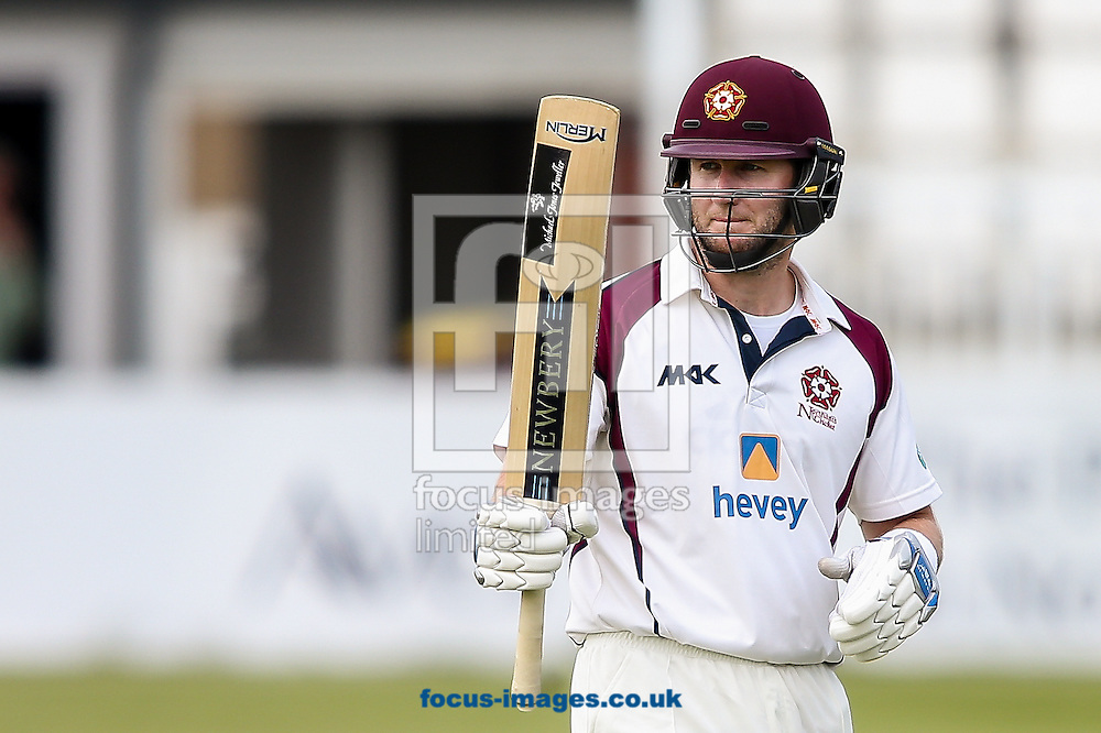 Alex Wakely of Northamptonshire CCC acknowledges the applause on reaching his half-century during the Specsavers County C'ship Div Two match at the County Ground, Northampton<br /> Picture by Andy Kearns/Focus Images Ltd 0781 864 4264<br /> 16/05/2016