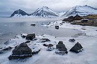 Þorgeirsstaðaklif by Papafjörður, Lón in Hornafjörður. Mountains Brunnhorn, Vestrahorn and Hádegistindur in Background. East Iceland.