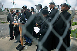 02 March 2010. New Orleans, Louisiana, USA. <br /> Civil Rights leaders gather at the notorious Danziger Bridge in New Orleans East, scene of the Sunday Sept 4th, 2005 murder of 40 yr old Ronald Madison and 19 yr old James Brissette by New Orleans police. <br /> Pastor Troy Lawrence addresses the media.<br /> The police are under federal investigation for an alleged cover up of the botched killings in the chaotic aftermath of hurricane Katrina. <br /> Photo; Charlie Varley.