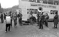 Sheffield Celebrated Street Band. Cheap Bus Fares Campaign. Fargate,  Sheffield.